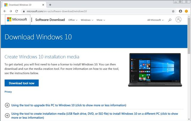 download the Windows 10 media creation tool