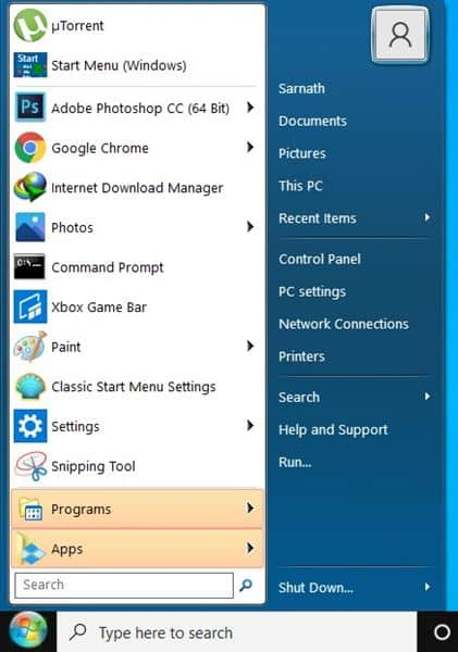 Windows 7 type start menu