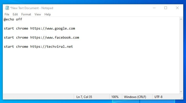 Code to open websites in the Chrome browser