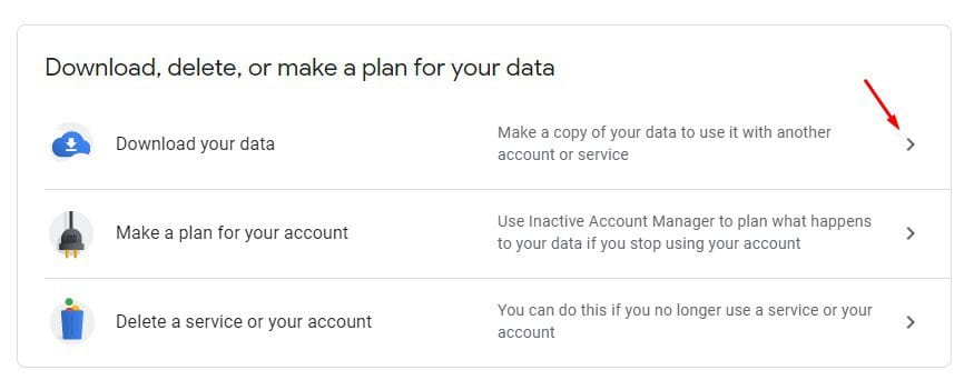 Click on the 'Download your data' option