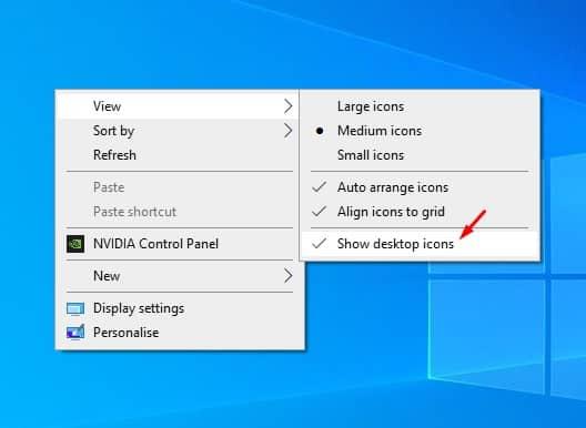 إخفاء جميع رموز سطح المكتب - نصائح وحيل ويندوز 10