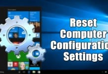 Reset Computer Configuration Settings in Windows 10