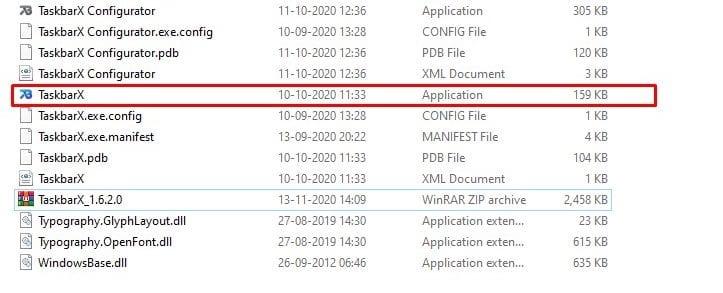 double click on the 'TaskbarX' exe file