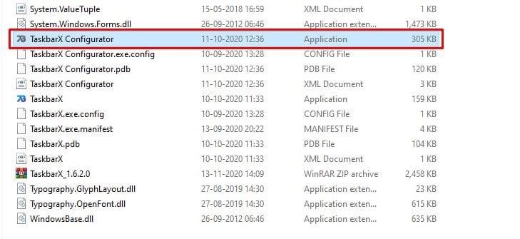 double click on the 'TaskbarX Configurator' file