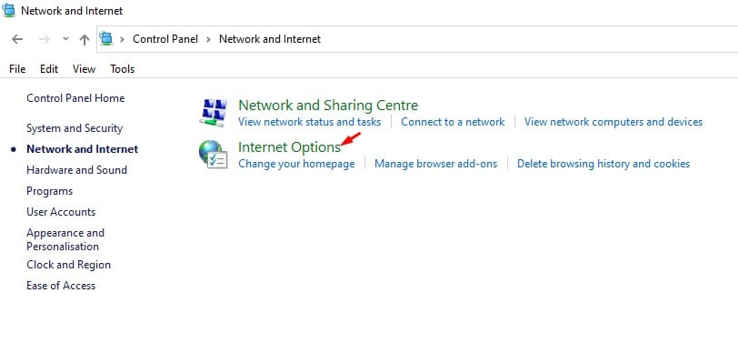 click on the 'Internet Options'