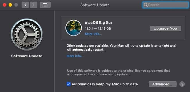 Upgrade Now option