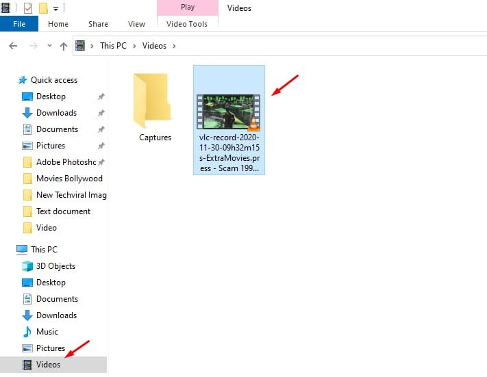 The clip will be saved to the 'Videos' folder