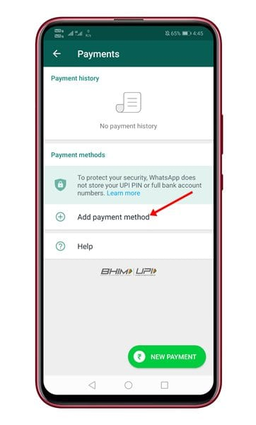 tap on the 'Add Payment Method' option