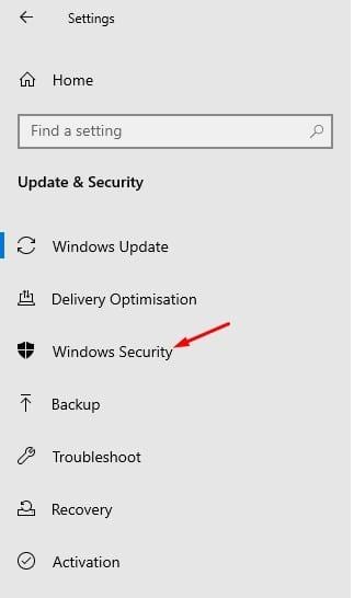 select 'Windows Security'