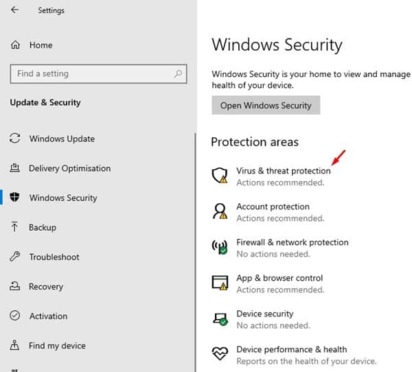 select 'Virus & threat protection'