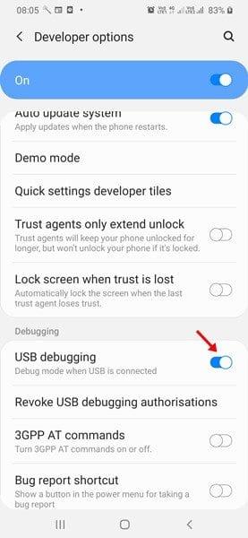 enable the USB Debugging'