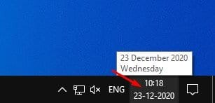 click on the date and clock