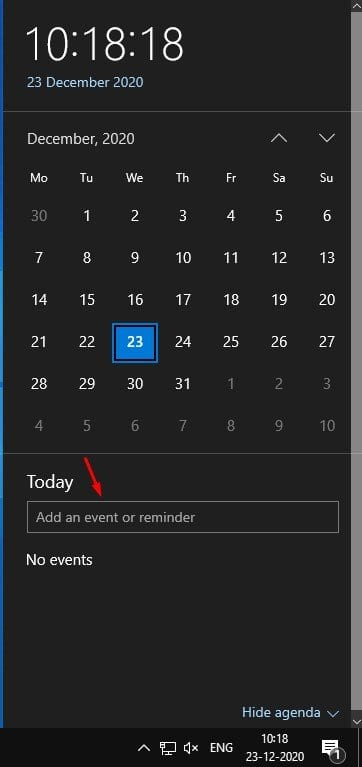 click on the 'Add an event or reminder'