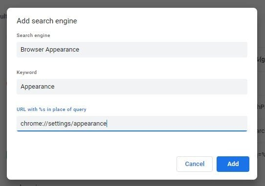 Settings for appearance