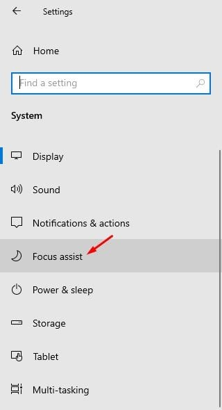 select the 'Focus Assist' tab
