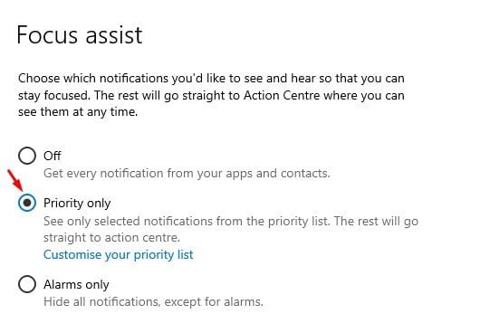 select the 'Priority Only' option