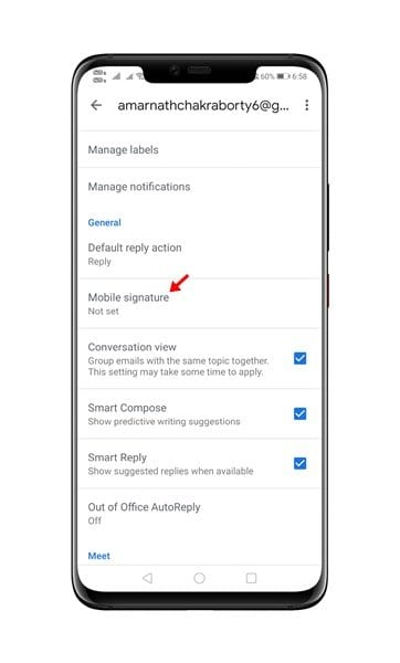 tap on the 'Mobile Signature' option