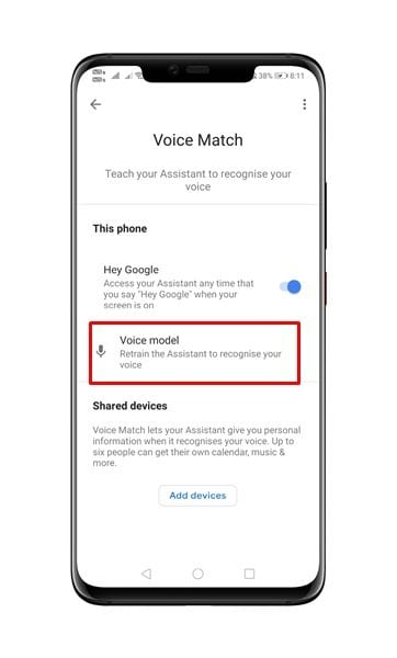 tap on the 'Voice Model'