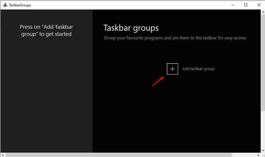 Click on 'Add taskbar group' button