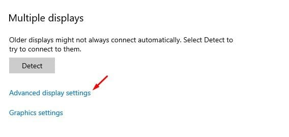 click on the 'Advanced Display Settings' option