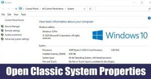 How to Open Classic System Properties in Windows 10