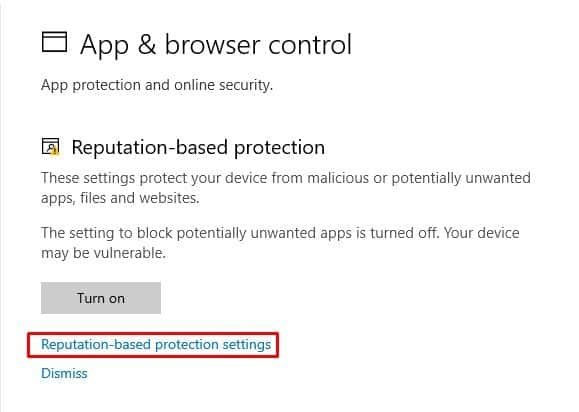 click on the 'Reputation-based protection settings'