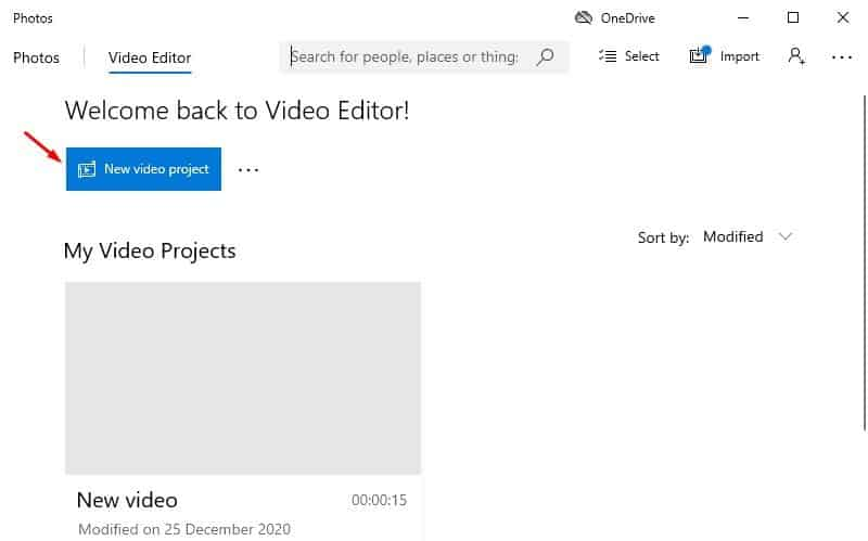 click on the 'New video project' option