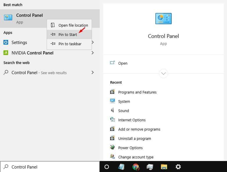 pin settings to Windows start menu