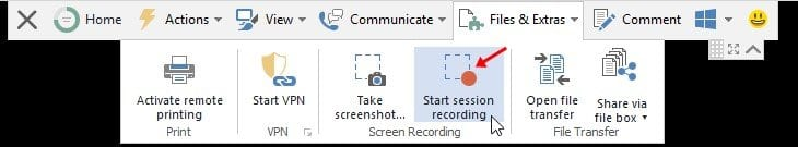 click on 'Start session recording'