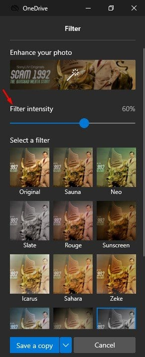 control the Filter intensity