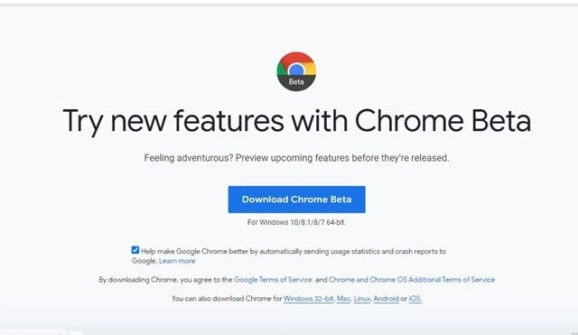 download the Chrome beta version