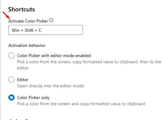 key combination to open the Color Picker