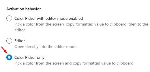 select the 'Color Picker Only' option