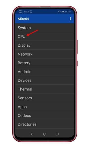 tap on the 'CPU' option