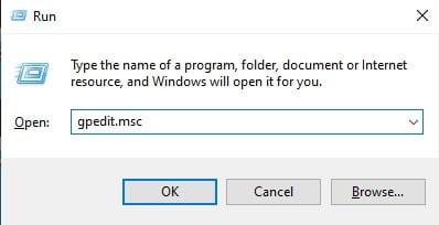 enter 'gpedit.msc' and click on 'Ok.'