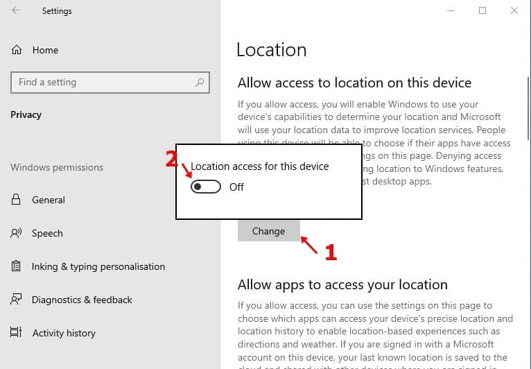 toggle off the 'Location access for this device' option