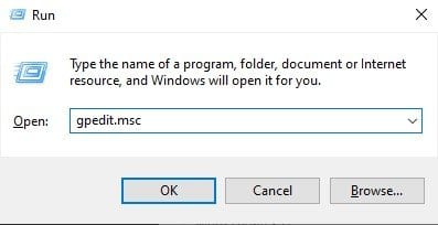 enter 'gpedit.msc' and hit enter button