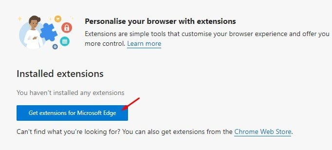 click on the 'Get extensions for Microsoft Edge'
