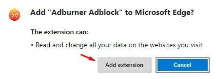 click on the 'Add extension' button