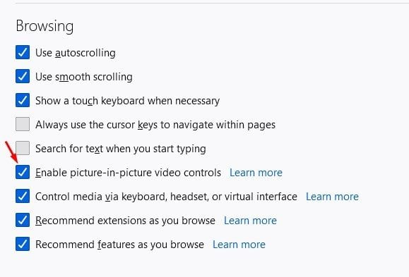 check the option 'Enable picture-in-picture video controls.'