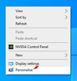 select 'Personalise'