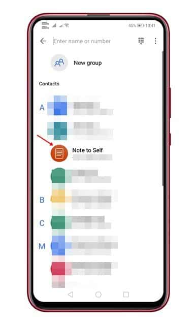 Simply tap on the 'Note to Self' contact