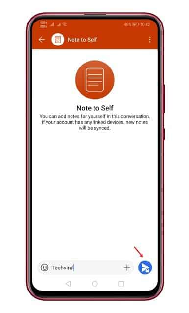 tap on the 'Note to self' contact