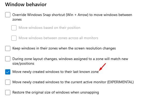 Enable the option 'Move newly created Windows to their last known zone'