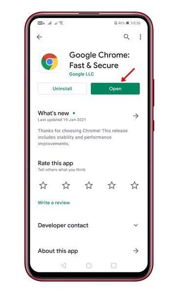 Update google chrome app