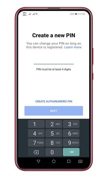 appuyez sur `` Changer votre code PIN '' et créez-en un nouveau