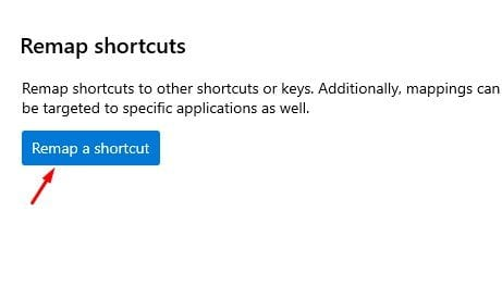 click on the 'Remap a shortcut' button