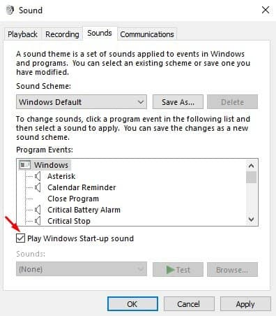 select the checkbox next to the 'Play Windows Startup Sound' option
