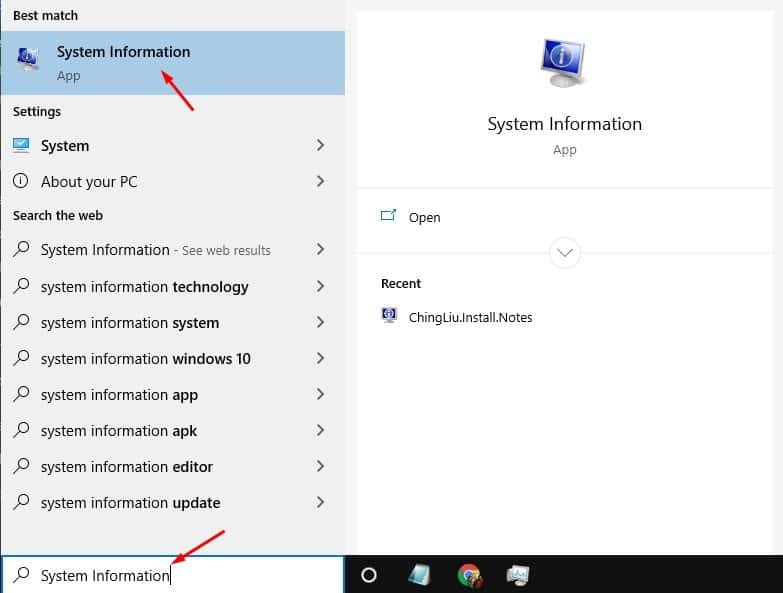 Search for 'System Information'