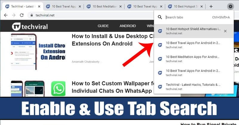How to Enable & Use the Tab Search Feature of Chrome Browser